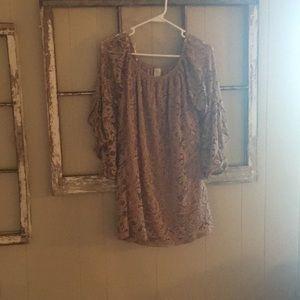 Tan lace blouse